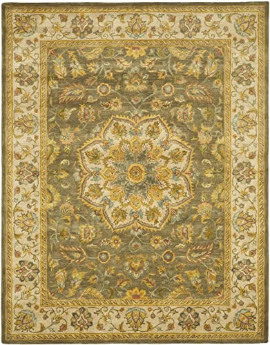 Safavieh Heritage Collection Handcrafted Traditional Oriental Green and Taupe Wool Area Rug 12 x 18