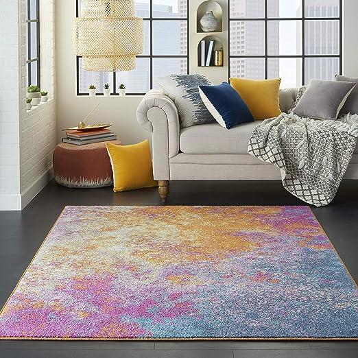 Amazon Com Nourison Passion Modern Abstract Colorful Sunburst Area Rug 5 3 X 7 3 Kitchen Dining