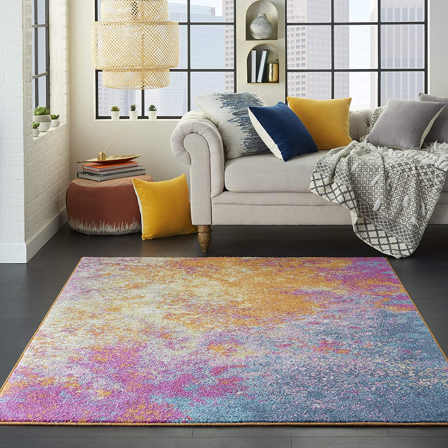"Nourison Passion Modern Abstract Colorful Sunburst Area Rug, 5'3"" x 7'3"""
