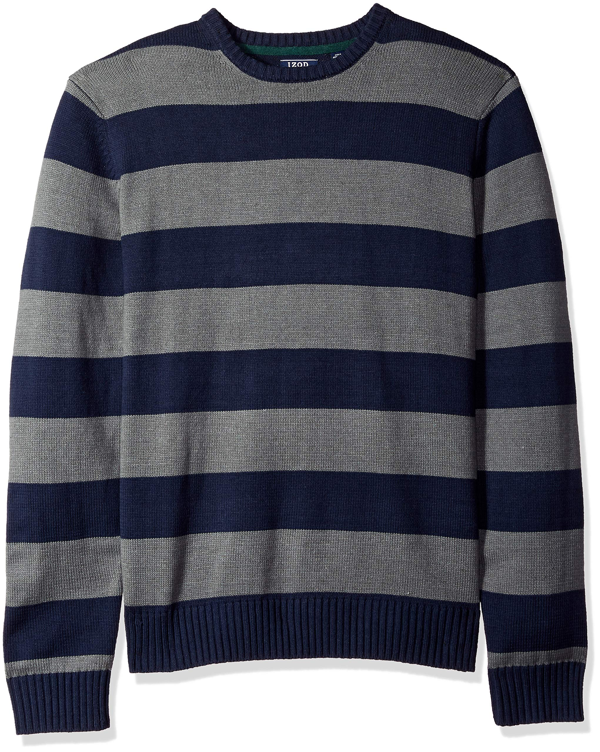 IZOD Men's Fine Gauge Crew Sweater, Rugby Peacoat, Large