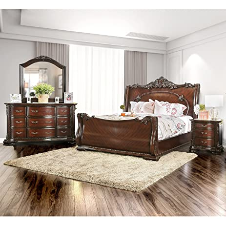 Furniture Of America Luxury Brown Cherry 4 Piece Baroque Style Bedroom Set  Queen