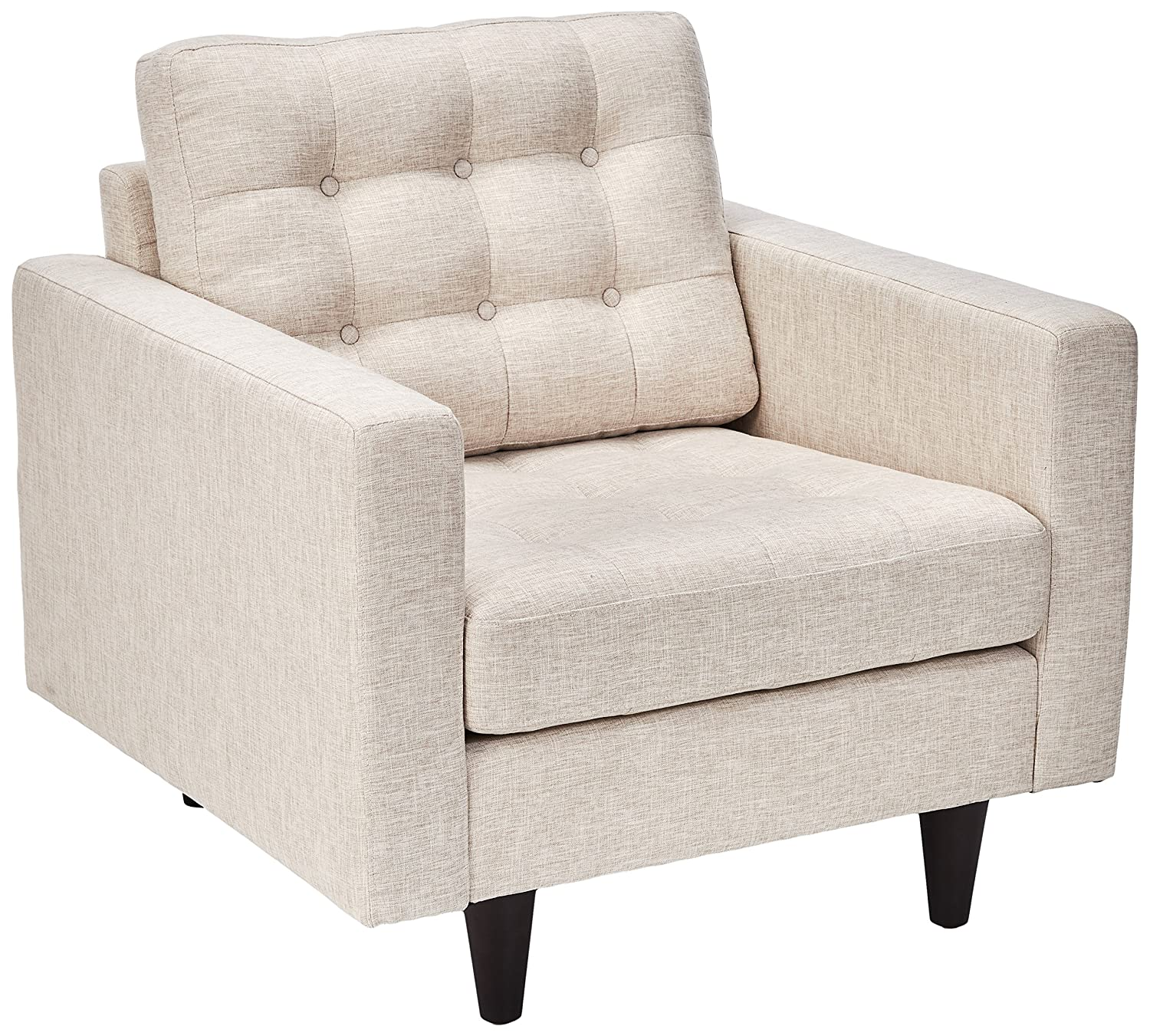 Modway EEI-1013-BEI Empress Mid-Century Modern Upholstered Fabric Accent Arm Lounge Chair Beige Modway Inc.
