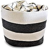 "OrganizerLogic Storage Baskets - Large 15""x15""x13"" Cotton Rope Storage Bins for Organizing Toys, Baby, Kids, Laundry - Natural Woven Basket (Gray)"