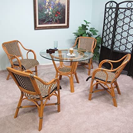 Amazon.com   Safi Rattan Dining Furniture 5PC Set [4 Chairs And 1 Table W/  Glass]   Table U0026 Chair Sets