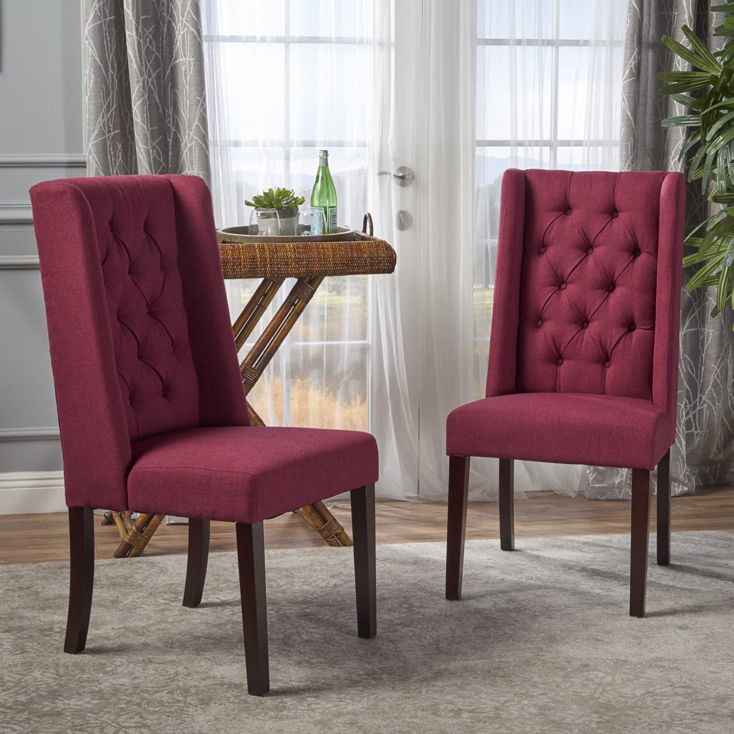 Christopher Knight Home Blythe Tufted Fabric Dining Chairs Set of 2 , Deep Red and Brown