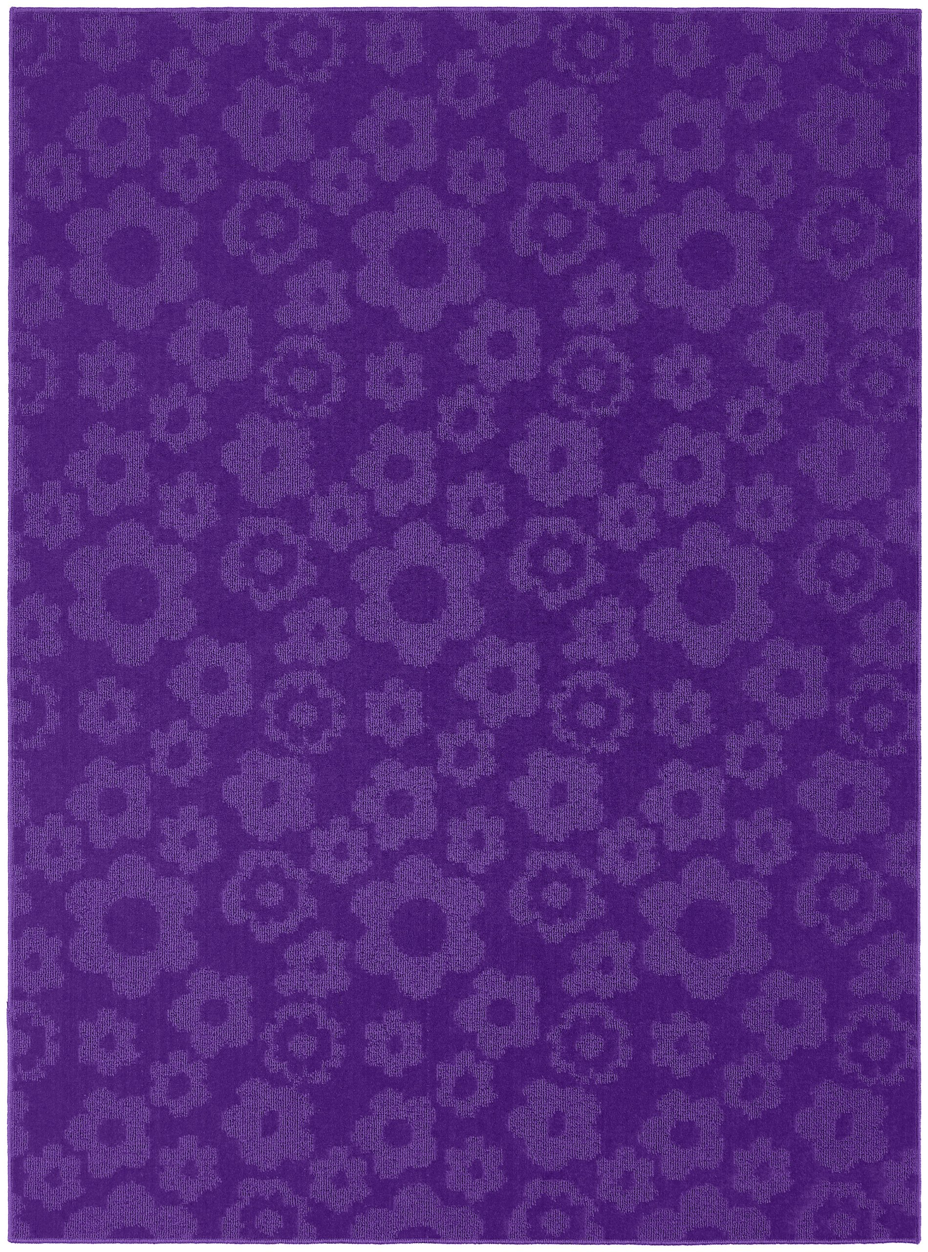 Garland Rug Flowers Area Rug, 5-Feet by 7-Feet, Purple