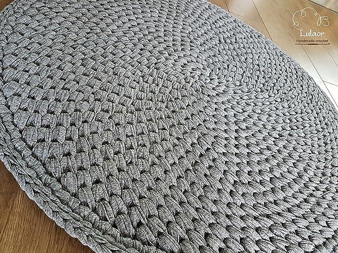 Amazon com: Crochet round rug, t shirt yarn rug, small rug, round