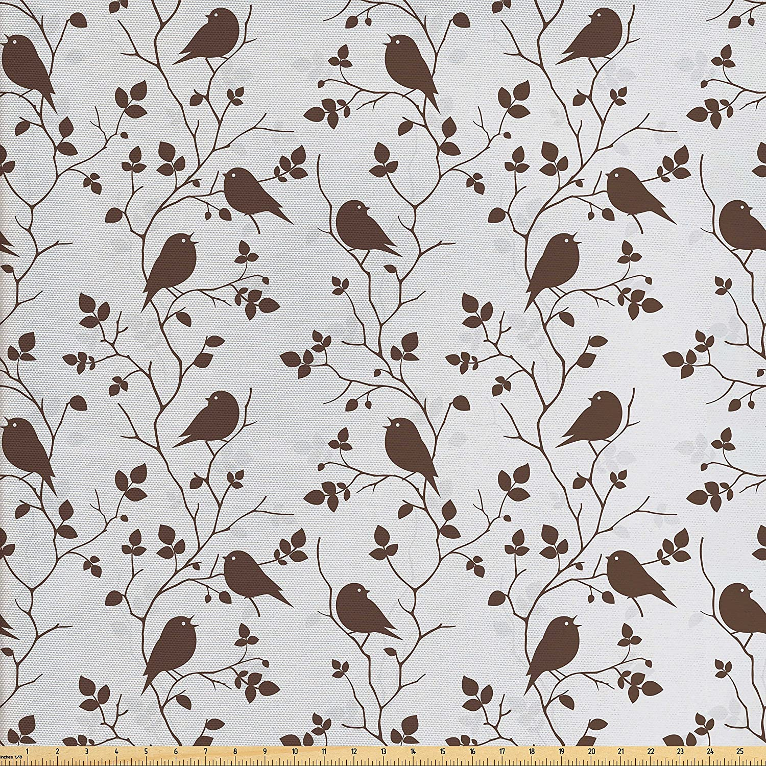 Ambesonne Leaves Fabric by The Yard, Cute Hummingbirds Sitting on Leafy Branches Retro Rustic Autumn Composition, Decorative Fabric for Upholstery and Home Accents, Brown Pale Grey
