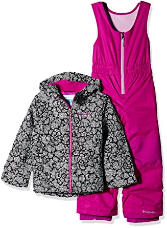 8978e5860 Columbia Girls' Little Frosty Slope Set, Black Floral, X-Small