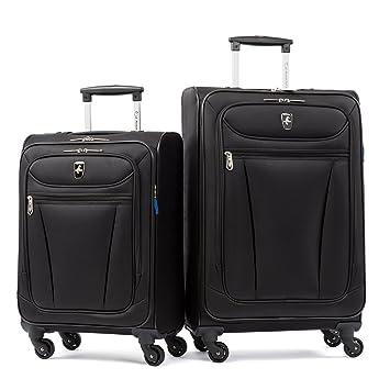 20ba7dc74eed Atlantic Luggage Avion Lite 2 Piece Spinner Luggage Set, Black