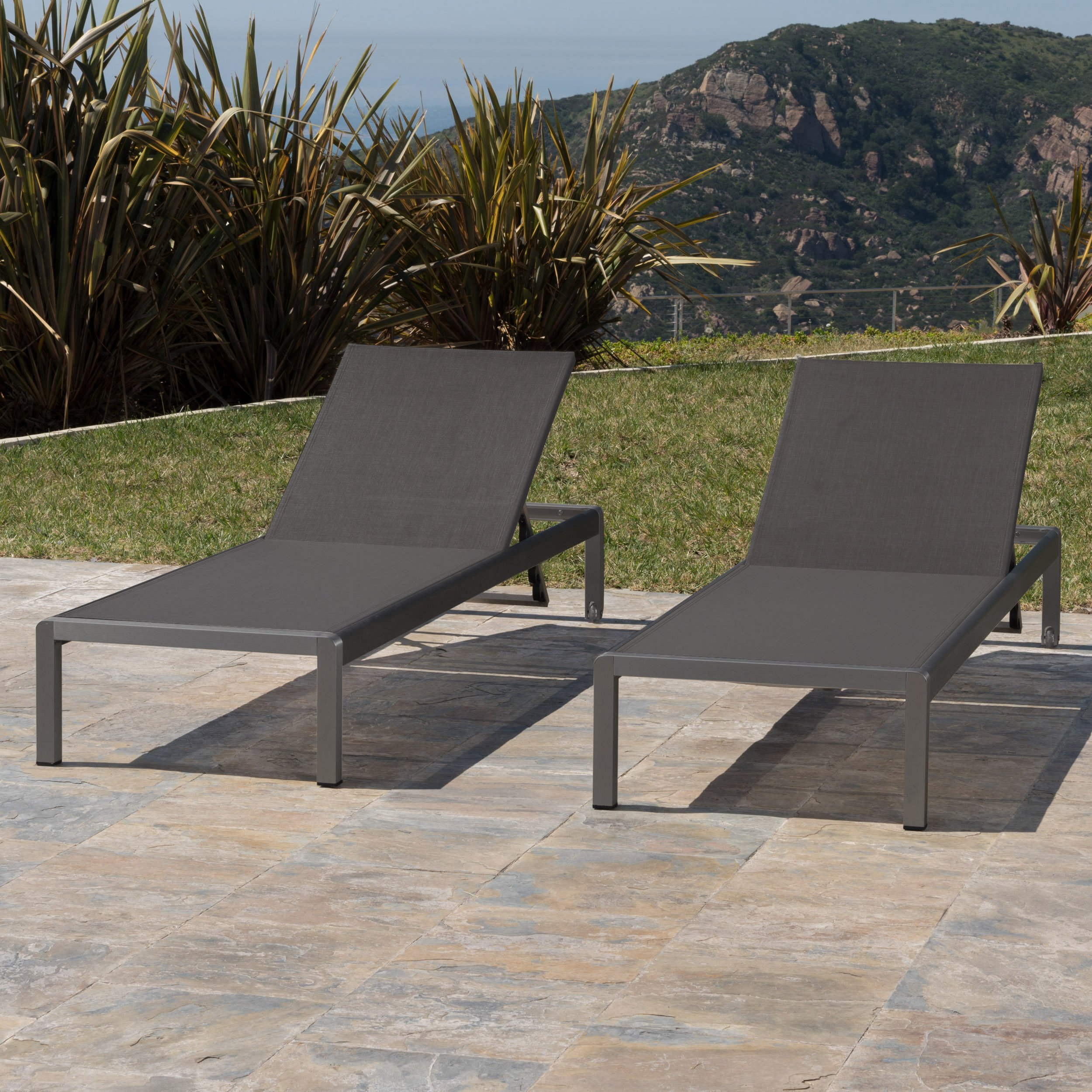 Crested bay patio furniture outdoor grey aluminum chaise lounge with dark grey mesh seat set of 2