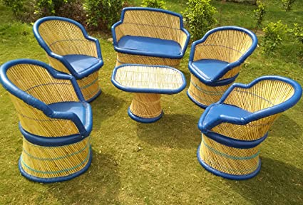 PatioStack Bamboo Outdoor Vintage Rattan & Wicker Sitting Sofa Chair & Table Furniture Set for Garden/Terrace / Lawn and Living Room [ 4 Chairs, Single 2 Seater Sofa Chair & 1 Table ]
