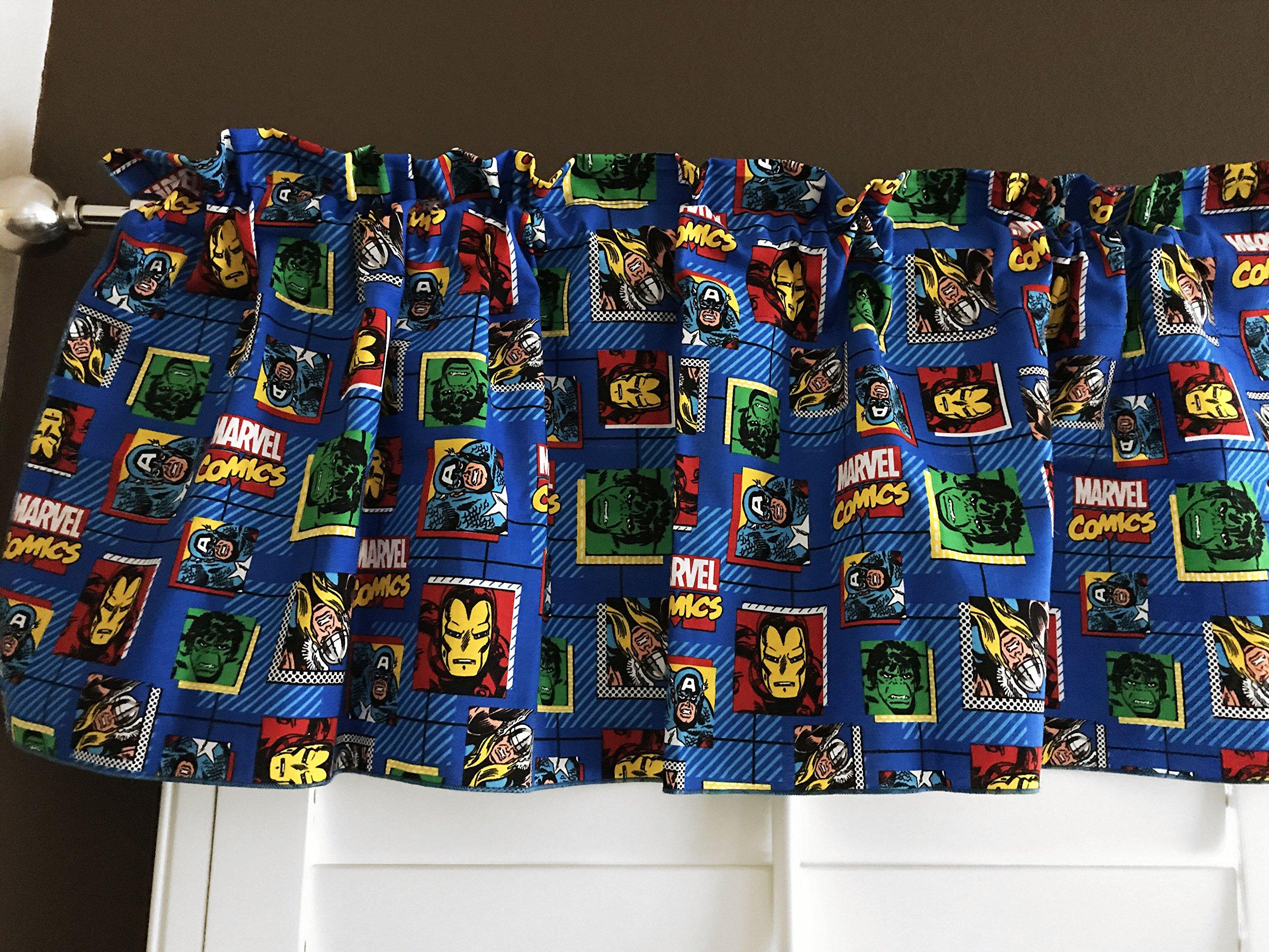 100% Cotton ''Marvel Comics'' Window Valance 42'' Wide Panel / Kids Nursery Window Treatment Decor / Iron Man / Hulk / Thor / Captain America (14'' Tall)