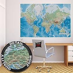 Poster Weltkarte Wandbild Dekoration miller projection im plastischen Reliefdesign Erde Atlas Weltkugel Landkarte Geographie | Wandposter Fotoposter Wanddeko Wandgestaltung by GREAT ART (140 x 100 cm)