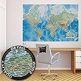 Poster Weltkarte Wandbild Dekoration miller projection im plastischen Reliefdesign Erde Atlas Weltkugel Landkarte Geographie   Wandposter Fotoposter Wanddeko Wandgestaltung by GREAT ART (140 x 100 cm)