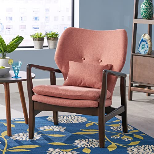 Christopher Knight Home 304783 Ventura Mid Century Modern Fabric Club Chair, Salmon