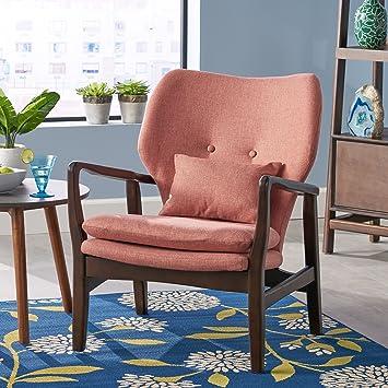 Astonishing Christopher Knight Home 304783 Ventura Mid Century Modern Fabric Club Chair Salmon Machost Co Dining Chair Design Ideas Machostcouk