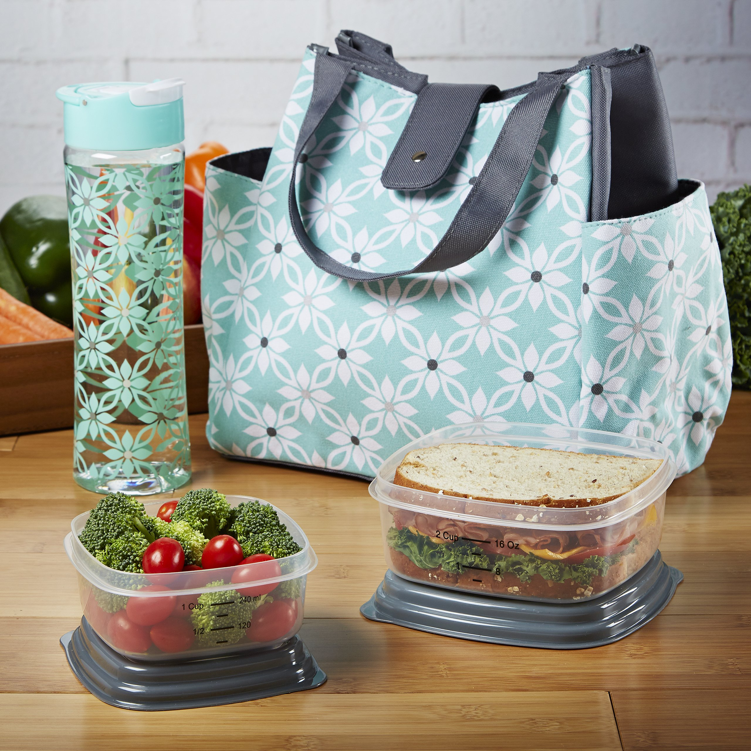 9828cc744db4 Details about Fit Fresh Women's Westport Insulated Lunch Bag with Matching  Reusable Container