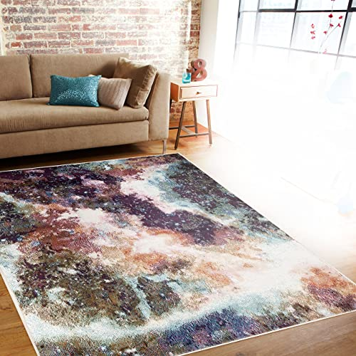 Distressed Abstract Multi Soft Area Rug 3 3 x 5
