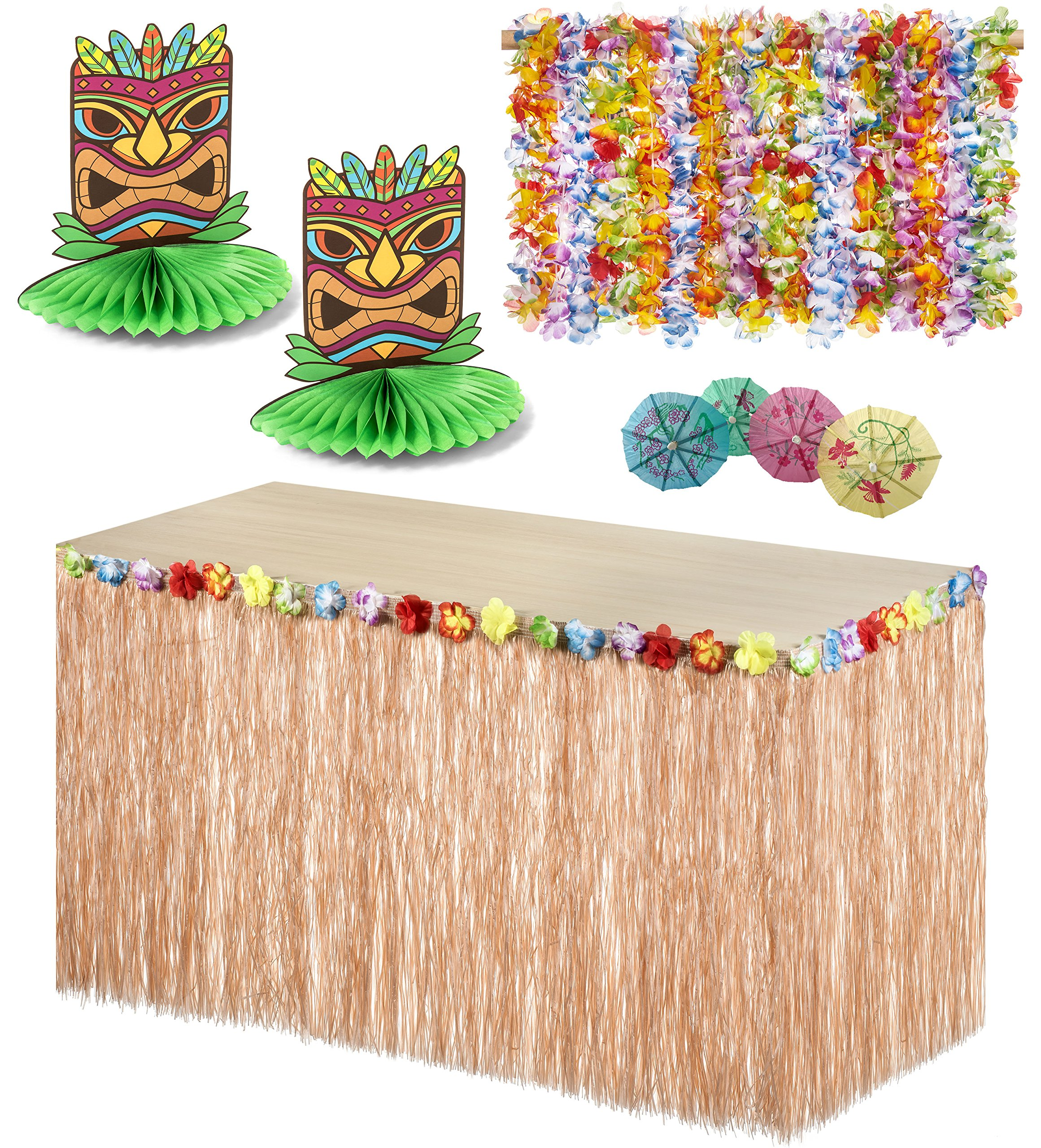 Tropical Luau Hula Party Beach Decoration Combo Pack - 36 Lei Necklaces, 144 Cocktail Drink Umbrellas, Hawaiian Grass Floral Table Skirt, and 2 Tiki Man Centerpieces - Haute Soiree by Haute Soiree