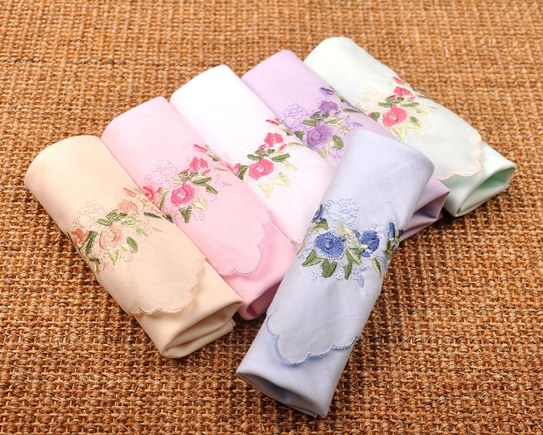 Milesky Womens Handkerchiefs Premium 60S Cotton Floral Embroidery Rose 17x17