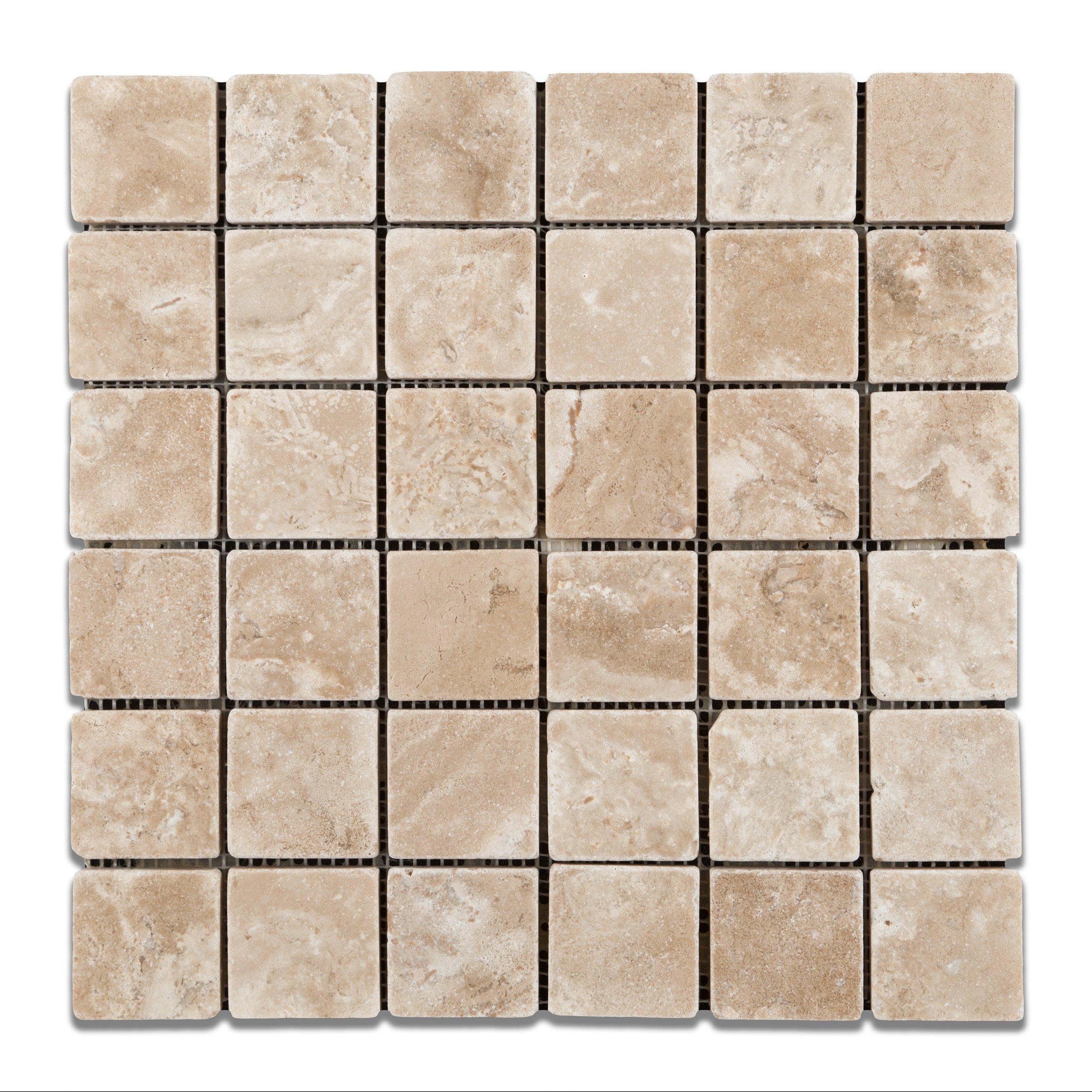 Durango Cream (Paredon) Travertine 2 X 2 Tumbled Mosaic Tile - Lot of 50 Sheets