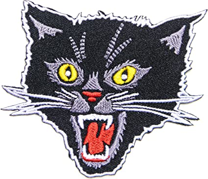 Vintage White And Black  Cat Patch Sew On//New