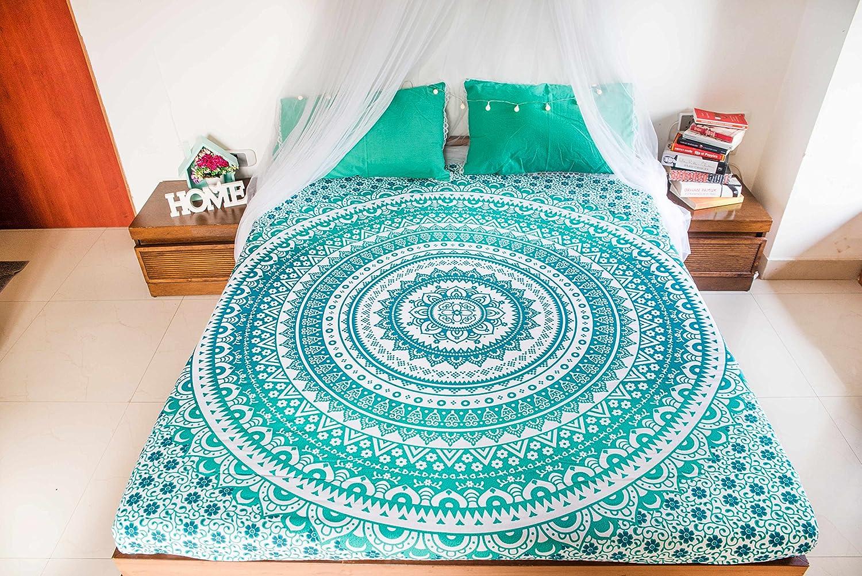 B075WYL9C5 Mandalaベッドスプレッドベッドルームの装飾、クイーンサイズIntricate ヒッピー曼荼羅タペストリーベッドと枕カバー、ボヘミアン壁吊り、Hippy毛布やピクニックビーチのためのスロー、インディアンOmbre Bohoタペストリー