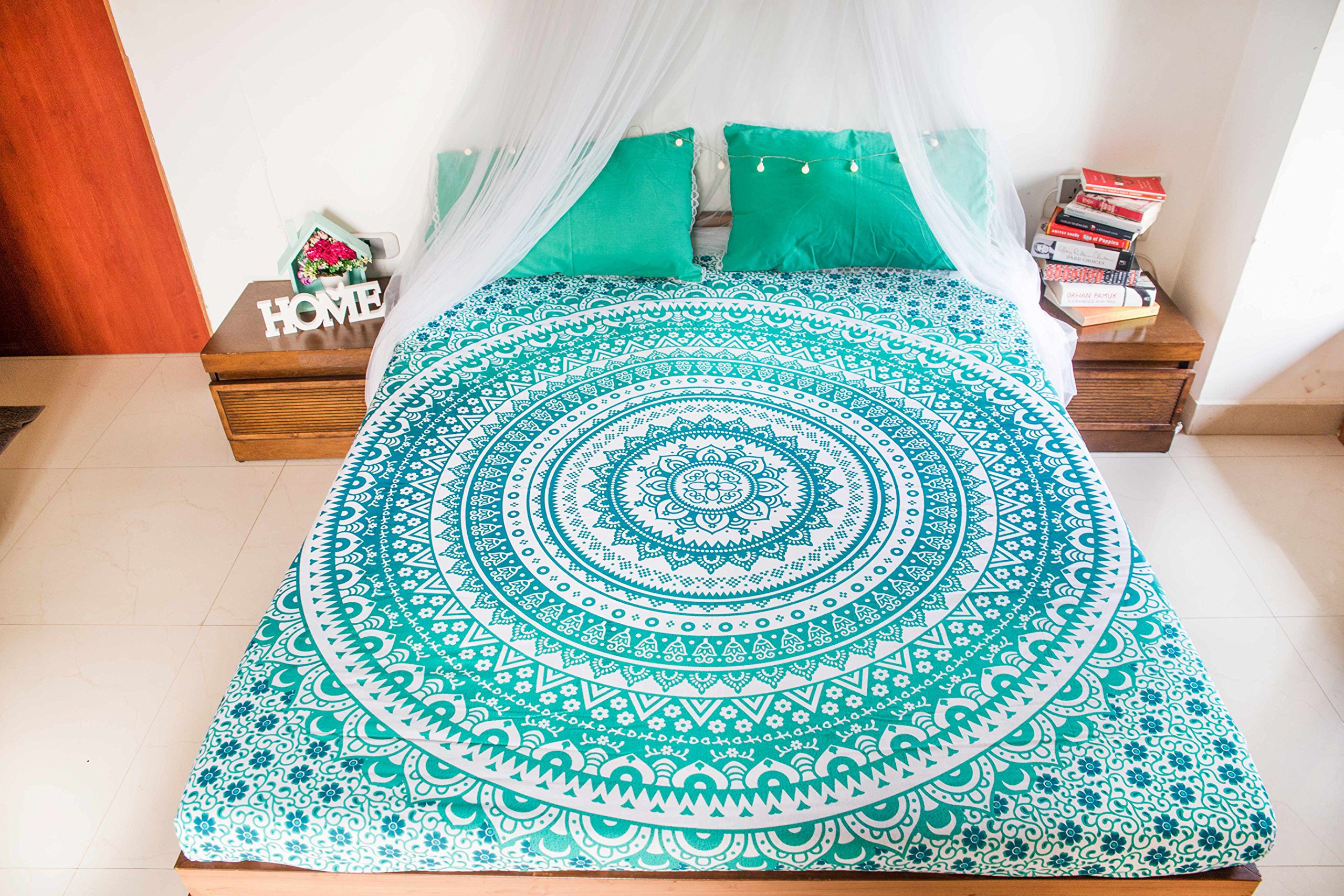 Hippie Mandala Tapestry Bedding with 2 Pillow Covers, Bohemian Wall Hanging, Hippy Blanket or Picnic Beach Throw, Indian Ombre Mandala Bedspread for Bedroom Decor, Queen Size Intricate Boho Tapestry