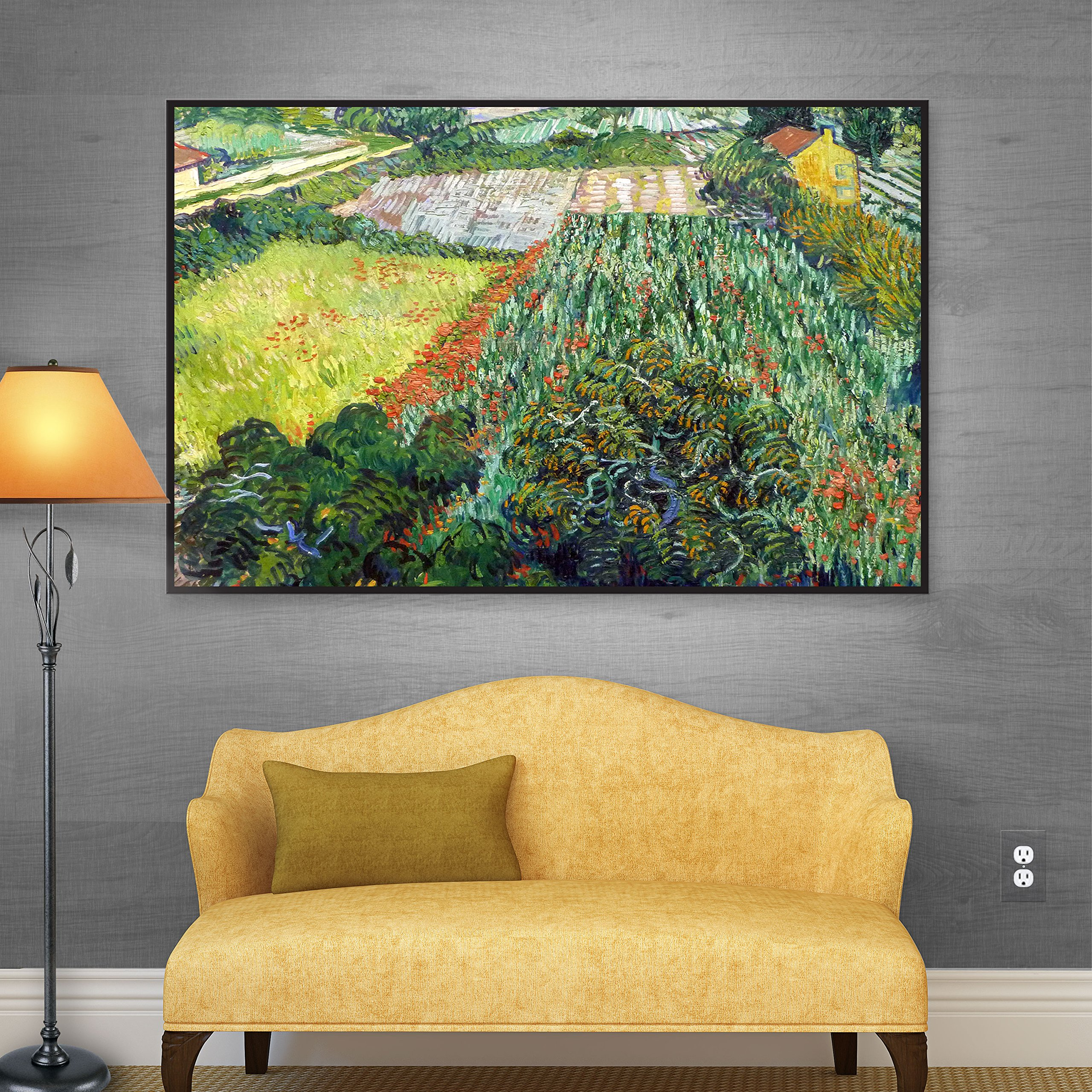 ArtWall Vincent Van Gogh's ''Field with Poppies'' Gallery Wrapped Floater Framed Canvas, 36 by 48-Inch
