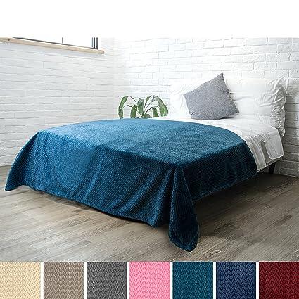 Amazon.com  PAVILIA Luxury Soft Plush Teal Blanket for Twin Bed ... 32ba2111e