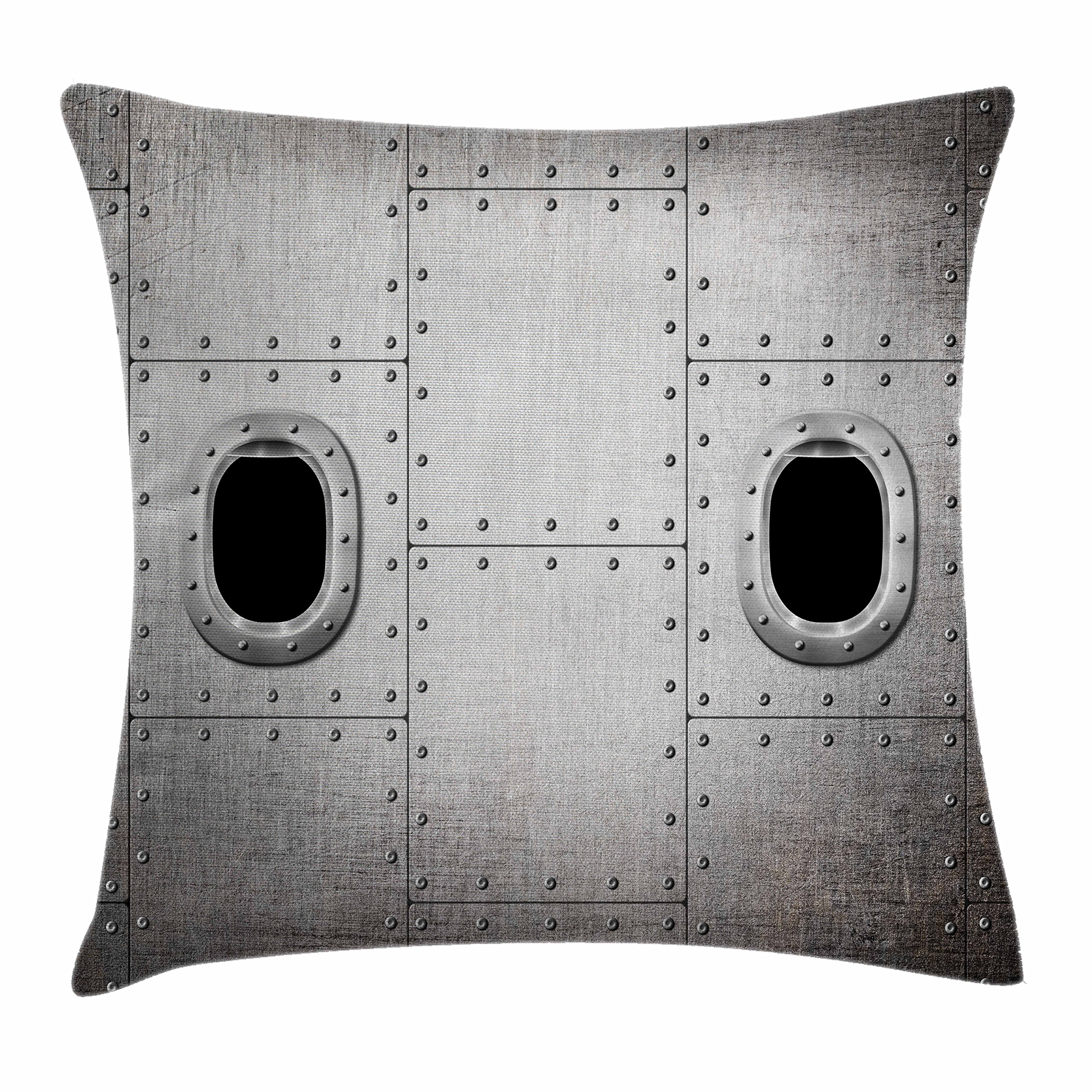 Ambesonne Vintage Airplane Throw Pillow Cushion Cover, Airplane Windows Close up Image Detailed Steampunk Style Illustration, Decorative Square Accent Pillow Case, 36 X 36 inches, Grey Black