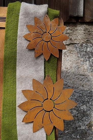 Rost Blume Modern Hänger 2er Set Deko Dekoration Edelrost Garten ...