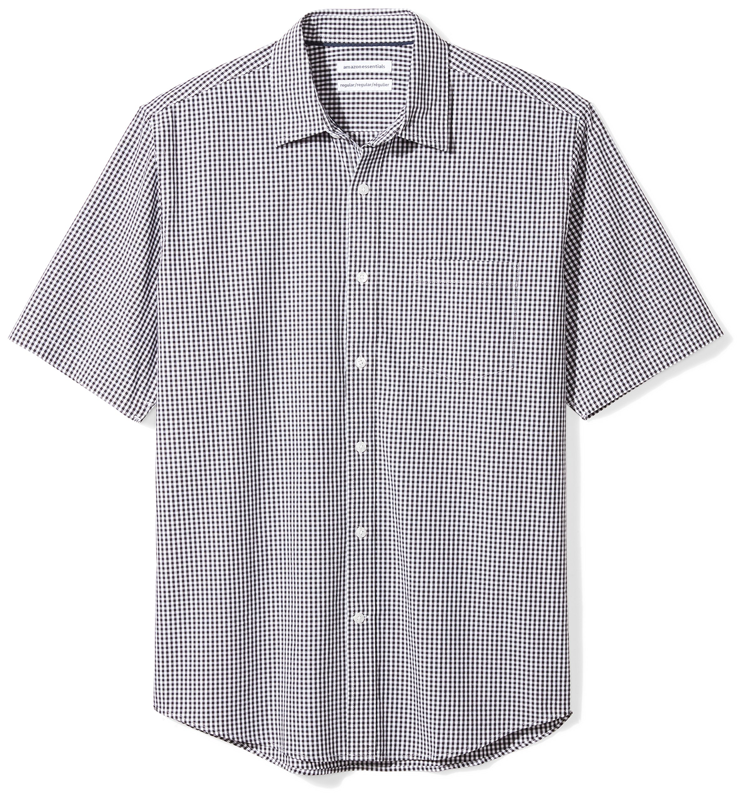 Amazon Essentials Men's Regular-Fit Short-Sleeve Casual Poplin Shirt, black gingham, X-Large