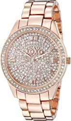 XOXO Womens Analog Watch with Rose Gold-Tone Case, Crystal Dial and Bezel,