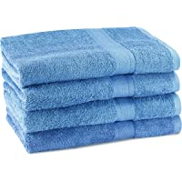 """CrystalTowels Premium Bath Towels – 4 Pack - 27"""" x 54""""- 600 GSM - 100% Virgin Ringspun Cotton - Soft & Absorbent for Home Hotel Spa or Gym (Blue)"""