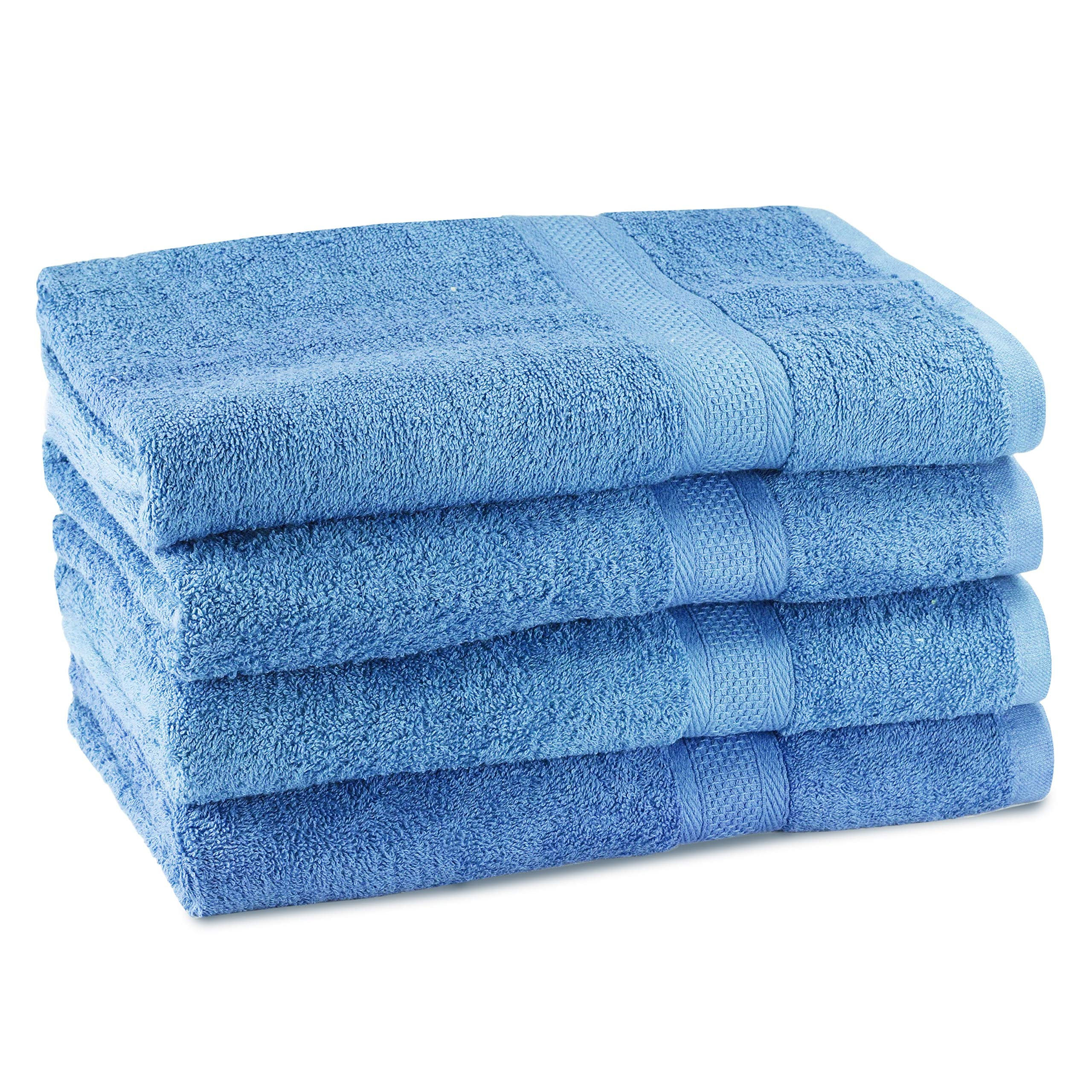 CrystalTowels Premium Bath Towels – 4 Pack - 27'' x 54''- 600 GSM - 100% Virgin Ringspun Cotton - Soft & Absorbent for Home Hotel Spa or Gym (Blue)