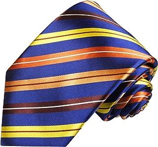 Cravate homme orange bleu rayé 100% soie