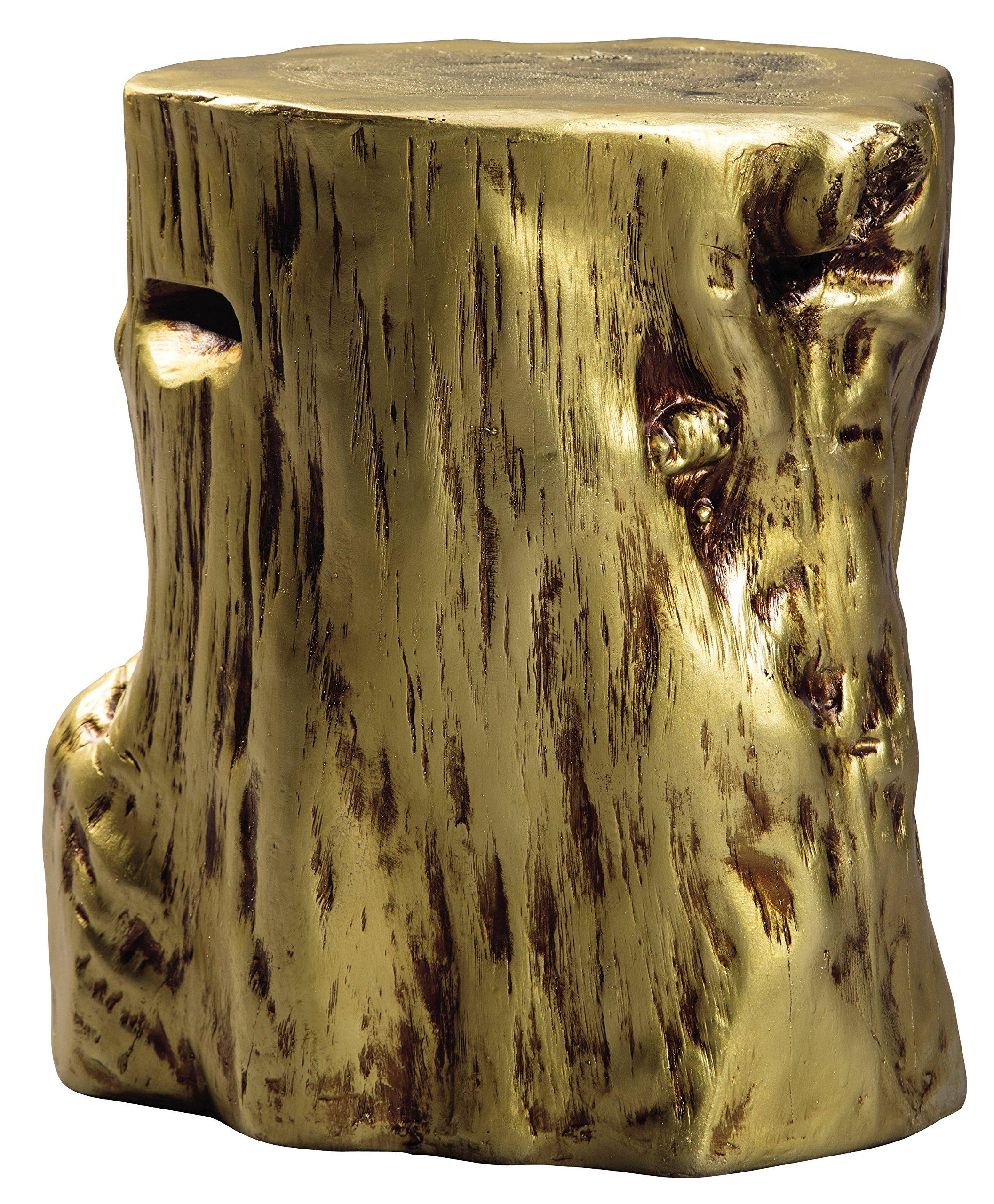 Ashley Furniture Signature Design - Majaci Accent Table - Contemporary - Antique Gold Finish - Tree Stump Design