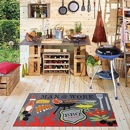 Carpet Studio Alfombra de Exterior 95x140cm, Alfombras Lavables para Jardín, Terraza & Cocina Exterior, Lavable a Máquina, Fácil de Limpiar, Anti-Deslizante - Man@Work: Amazon.es: Hogar