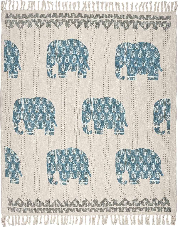 "LR Home Elephant Crossing Throw Blanket, 50"" x 60"", Blue/Gray"