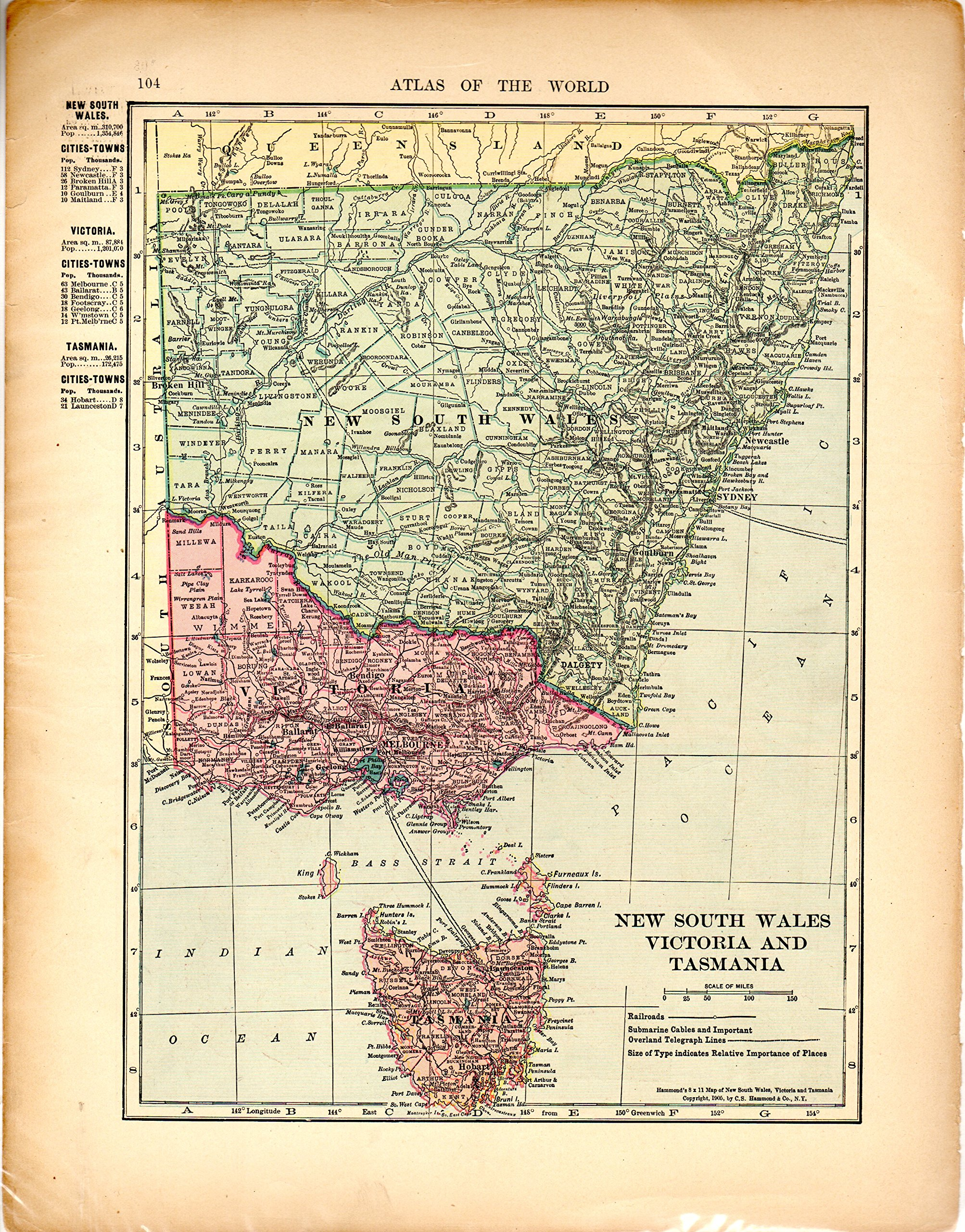 MAP: 'New South Wales, Victoria and Tasmania'...from ... Tasmania Map World on nigeria world map, tanzania world map, major deserts of the world map, crimea world map, manitoba world map, north island world map, bowen world map, minorca world map, gulf of carpentaria world map, indonesia world map, new guinea world map, hobart world map, bismarck archipelago world map, australia world map, flinders island world map, philippines world map, cambridge world map, cape barren island world map, bass strait world map, new zealand world map,