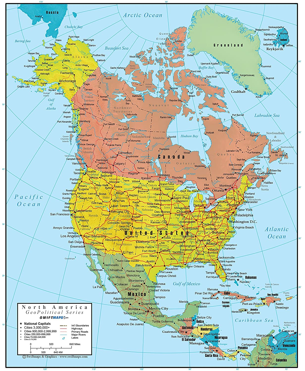 18x22 Laminated North America Wall Map GeoPolitical Edition by Swiftmaps