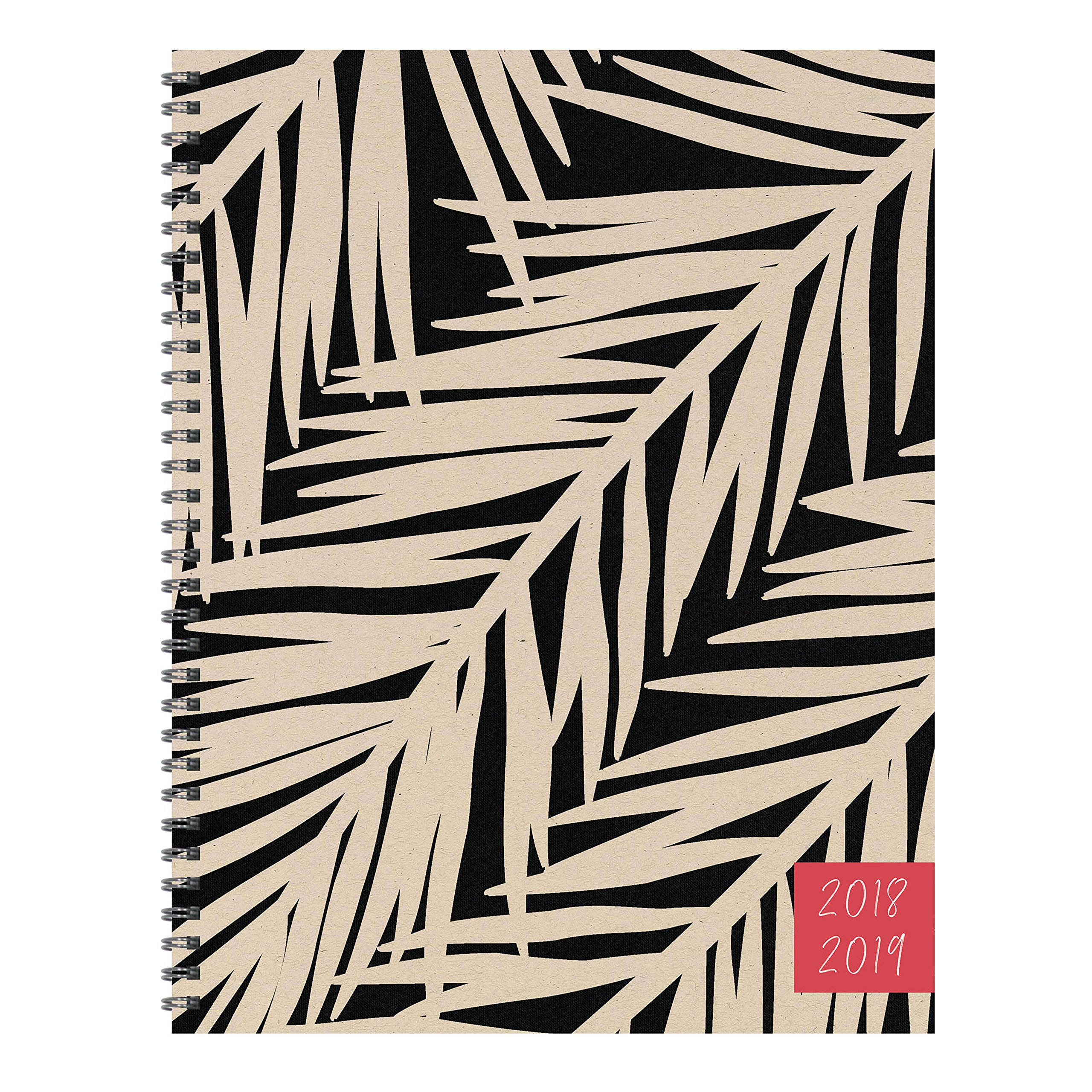 TF Publishing 19-9720A July 2018 - June 2019 Botanical Large Weekly Monthly Planner, 9 x 11'', Beige & Black