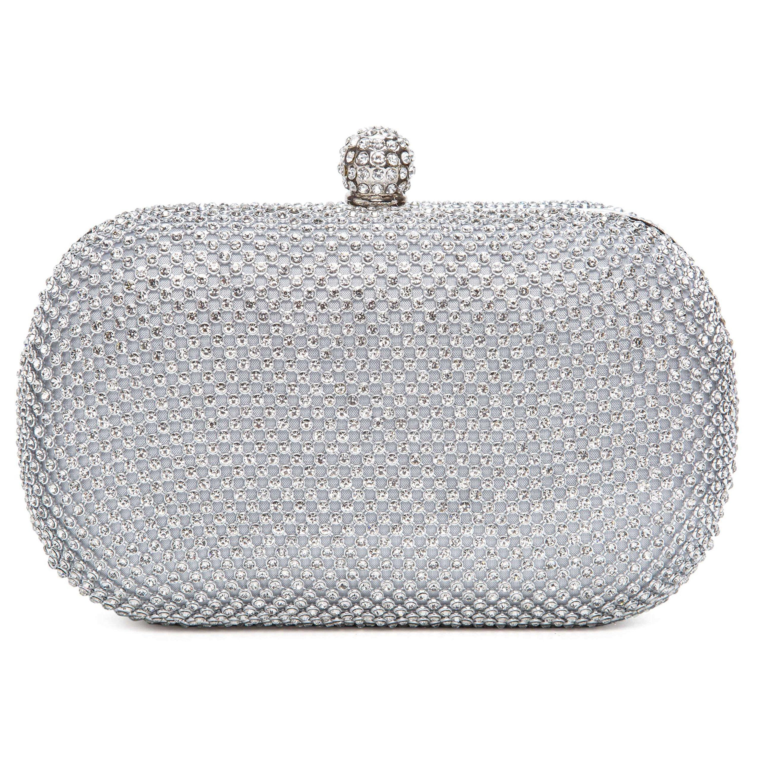 Chichitop Evening Bag Full Crystal Hard Case Wedding Prom Formal Clutch Handbag Purse for Women,Silver