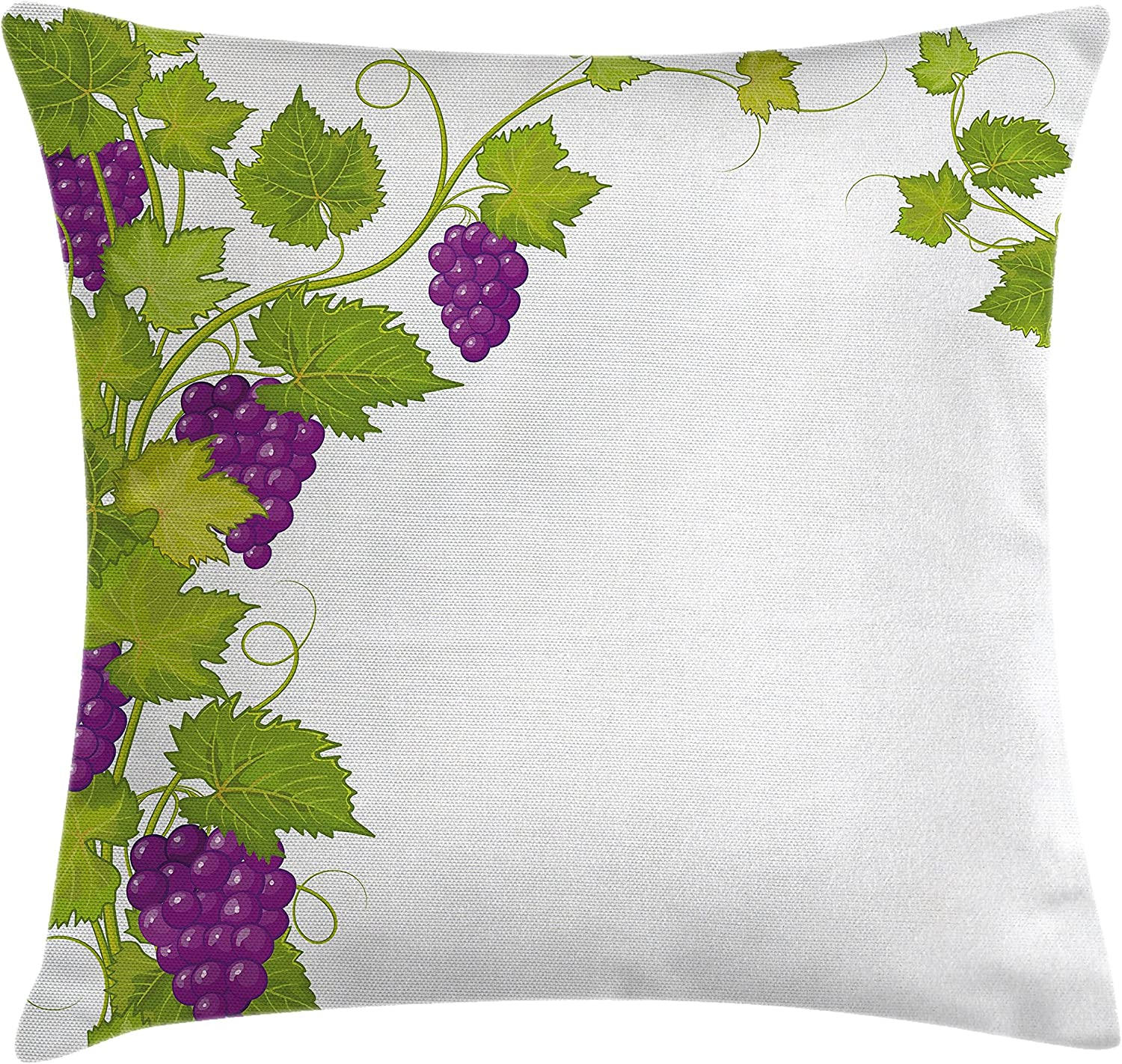 Ambesonne Vineyard Throw Pillow Cushion Cover Latin Brochure Italian Town Province Vintage Style Menu Sign Art Pattern Decorative Square Accent Pillow Case 18 X 18 Violet Green Home Kitchen