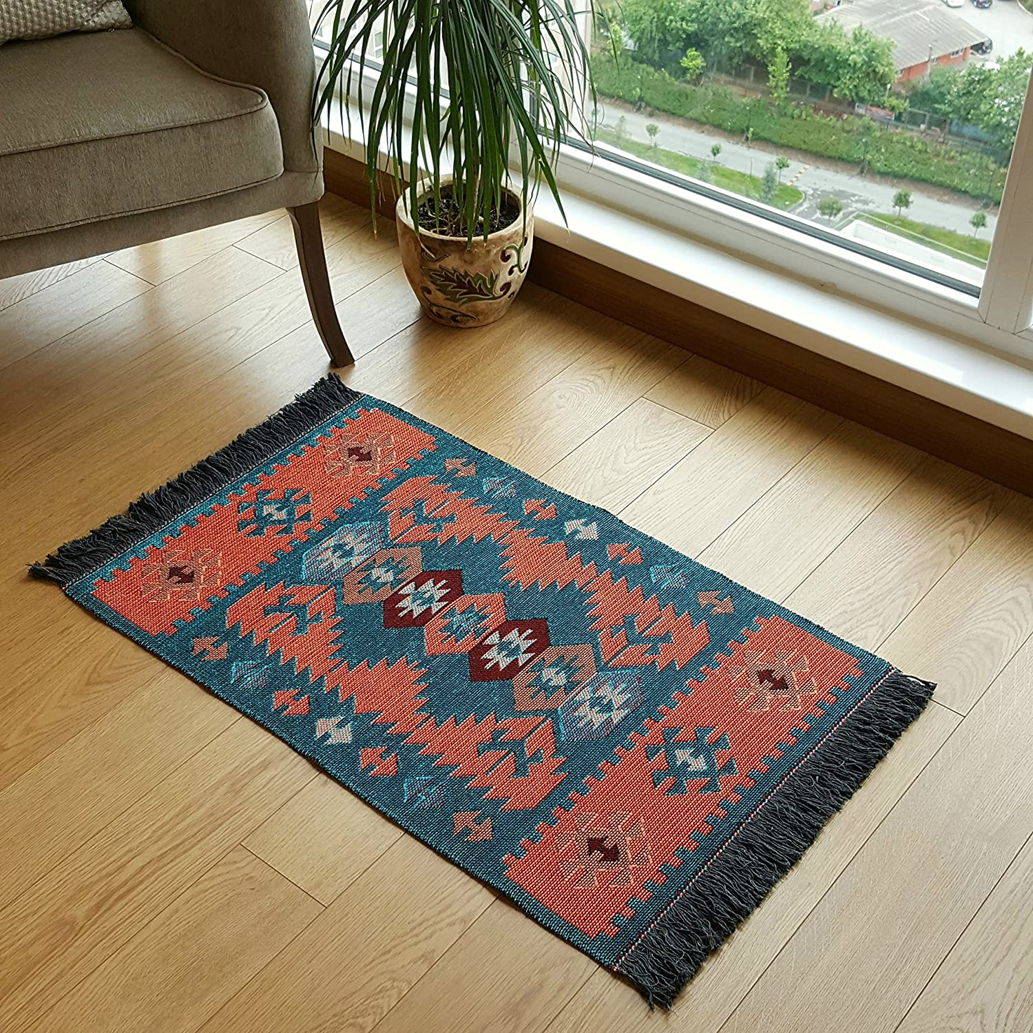 Amazon com modern bohemian style small area rug 2 x 3 ft washable natural dye colors reversible turquoise orange garden outdoor