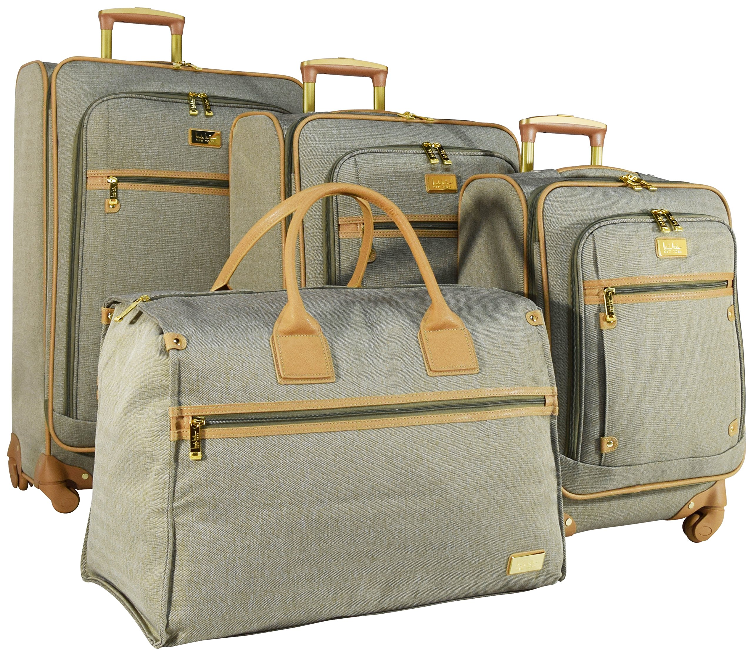 Nicole Miller New York Taylor Set of 4: Box Bag, 20'', 24'', 28'' Expandable Spinner Luggages (Green)
