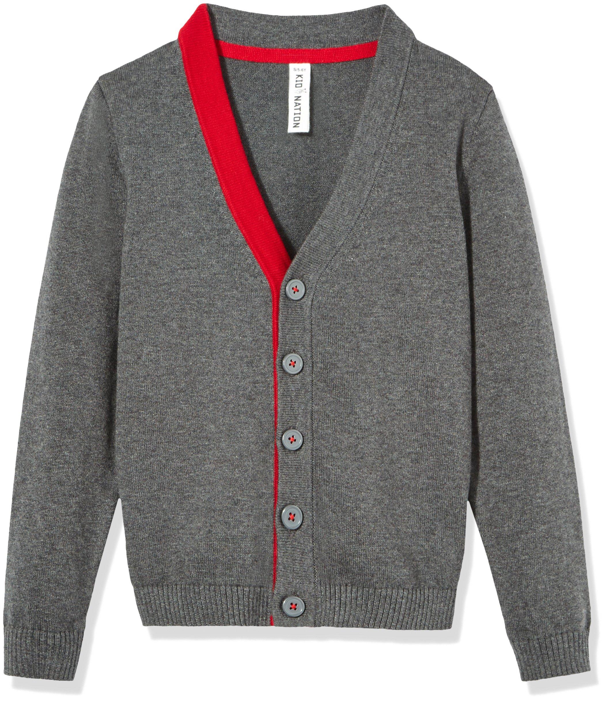 Kid Nation Boys' Long Sleeve Cardigan Sweater L Dark Grey