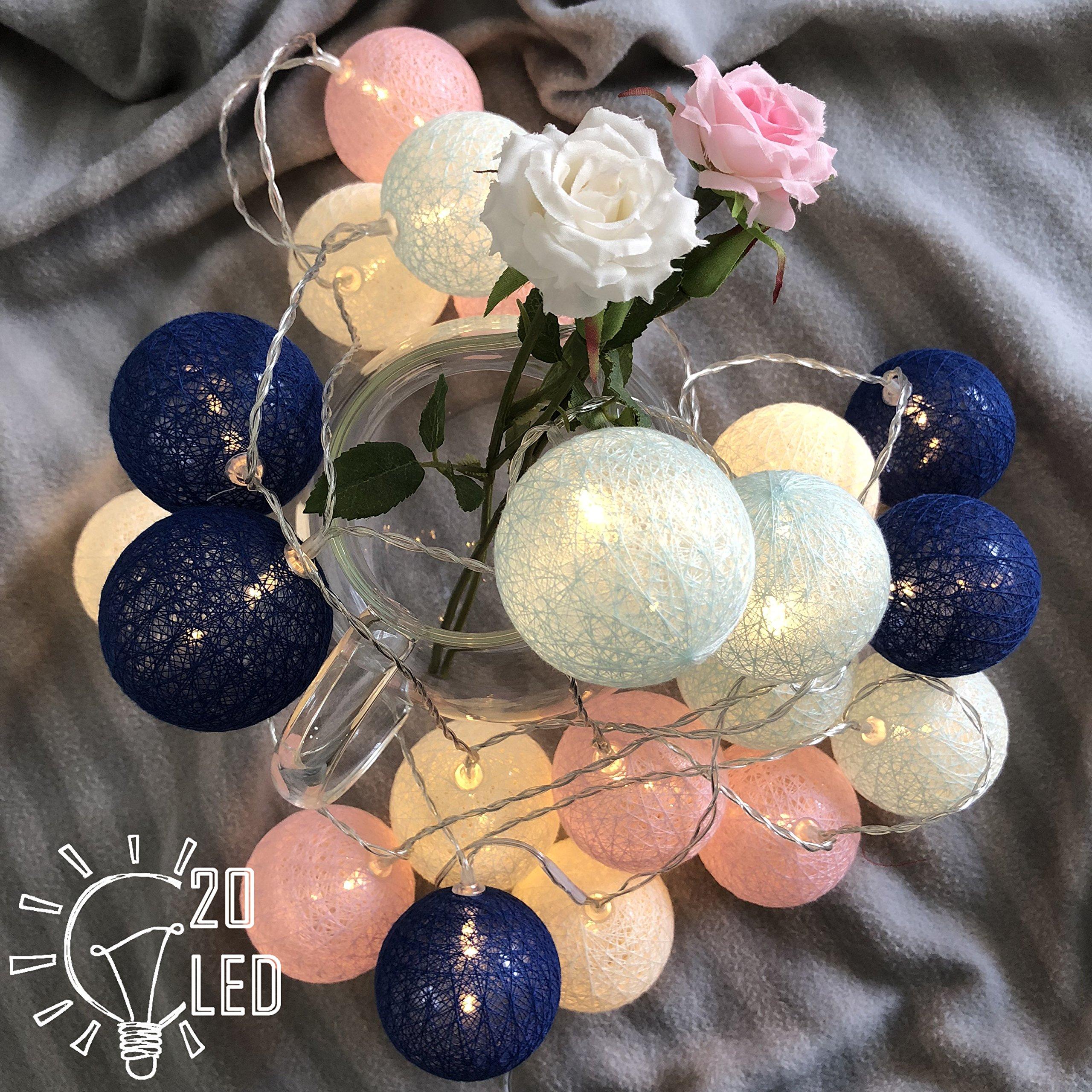 WOZI Cotton Balls String Light 10ft 20 LED, Bedroom and Nursery Cradle Decor Newborn Gift Children's Nightlights Fairy String Light, Wedding Romantic Strip Decor Garden Party Home Strip (3M Battery)